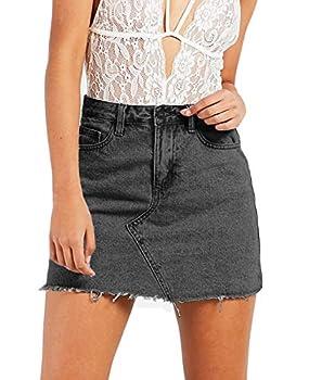 Angelegant Jean Skirt Women s High Waisted Fringed Slim Fit Elastic Bodycon Mini Denim Skirt  S Black Washed