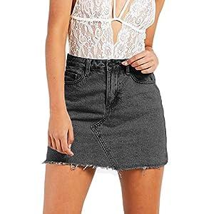 Women's  Jean Skirt Fringed Slim Fit Short Mini Skirt