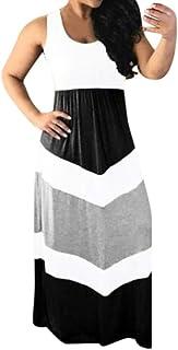 Women O-neck Sleeveless Maxi Dress ❀ Ladies Color Patchwork Striprd Block High Waist Maxi Long Dress
