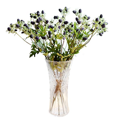 """Htmeing 4pcs 21.6"""" Handmade Artificial Dandelion Berries Flowers Fake Plant Soft Silicone Mulberry Strawberry Artificial Fruit Party Wedding Home Decor(Blueberry)"""