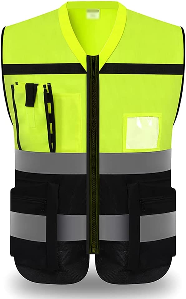lhl Genuine Free Shipping Bright Reflective Vest Zipper Safety National products Visibility Mu High