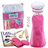 JaxoJoy Complete Kids Cooking and Baking Set - 11 Pcs Includes Apron for Little Girls, Chef Hat, Mitt & Utensil for Toddler Dress Up Chef Costume Career Role Play for 3 Year Old Girls and Up