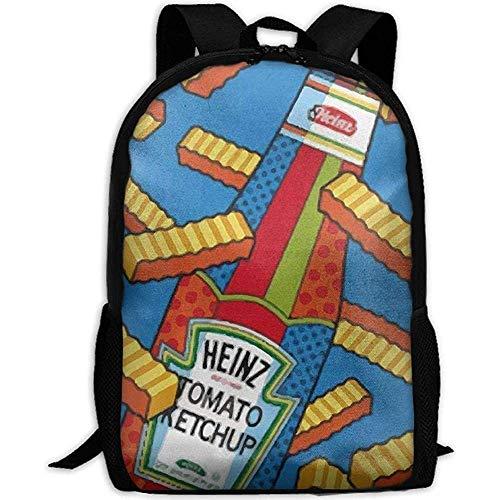 Zaino,Borsa a tracolla da viaggio per zaino da viaggio con zaino per laptop e scuola con stampa Ketchup e patatine fritte per unisex