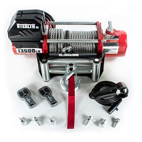 Warrior Winches Electric Winch 13500lb Stealth 12v Steel Rope Wireless...