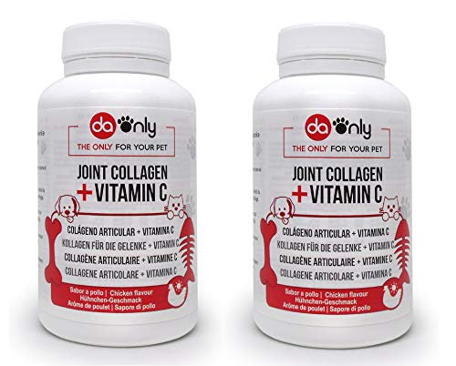 DAONLY Collagen for Dogs and Cats, 2-Pack Joint Care Supplement + Magnesium. Hip and Joint Tablets Ckicken Flavored.