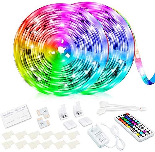 Tira de luces LED de 10 m, superbrillante, RGB, 24 V, cambio de color, 5050 SMD, con mando a distancia por infrarrojos de 44 teclas, para dormitorio, armario, TV, fiesta, festival, boda