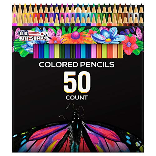 US Art Supply 50 Piece Adult Coloring Book Artist Grade Colored Pencil Set