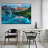 KWzEQ Paisaje nórdico atracción increíble Lago Pared Arte Lienzo Pintura decoración del hogar Pintura al óleo,Pintura sin Marco,30x45cm
