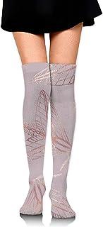 Be-ryl, Sobre la rodilla Calcetines largos Polilla Oro rosa Elegante textura Mujeres Niñas Calcetines altos de arranque 60 CM