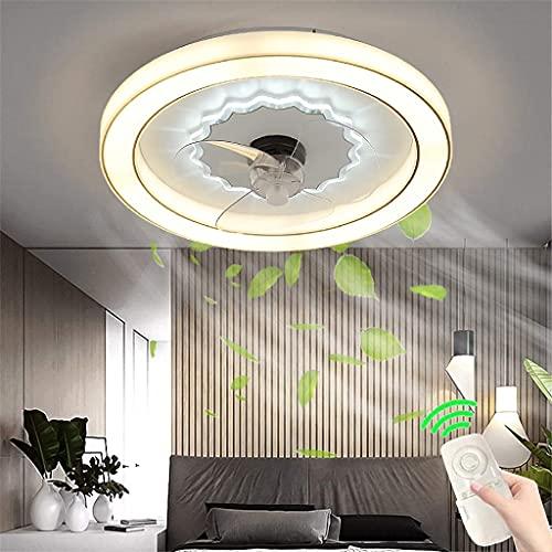 Ventilador De Techo Con Luz Control Remoto Ventilador LED Luz De Techo Dormitorio Ventilador Invisible Moderno Lámpara De Techo Con Ventilador De Sala De Estar Ultra Silencioso Regulable Lámpara