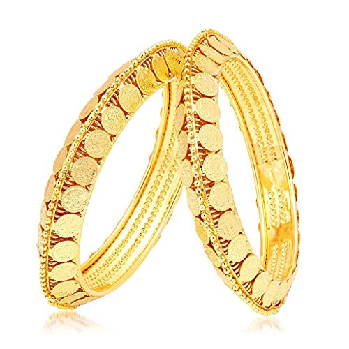 YouBella Ethnic Bollywood Gold Plated Temple Coin Bracelets Bangles Jewellery for Women and Girls (5.7)