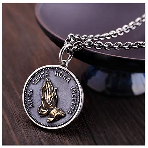 CHXISHOP Collar de Manos de oración S925 Collar de Plata Unisex Joyas de Disfraces