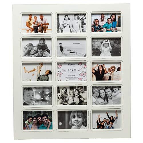 Hampton Frames BOM1471A15-FBA Bombay 15 diafragma fotolijstje met witte onderdrukte houtafwerking en niet-glazen voorzijde