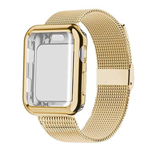 TTUC Banda con el Caso de Reloj for la Serie de 5/4/3/2 38 mm 42 mm 40 mm 44 mm Correa de Acero Inoxidable de la Pulsera for Watch (Band Color : Gold, Band Width : 42mm)