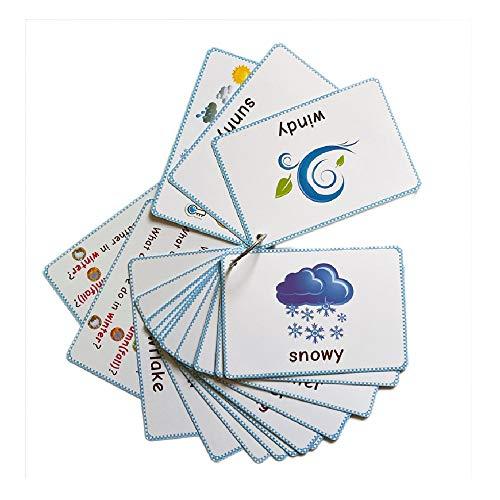 SYXX Coche para niños RC English Previsión Temporada Fun Card precoz Instrucción Iluminismo Puzzle Quiz Tarjeta Guardería Escuela primaria Asociante subsidio educativo