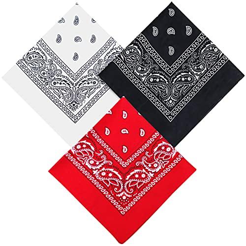 Set 3 Bandana Kopftuch,Damen und Herren rot, weiß, schwarz Tücher Bandana, Kopftuch Armtuch Mischfarben Haar, Hals, Kopf Schal Nickituch Vierecktuch
