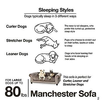 Enchanted Home Pet Manchester en velours tufté Canapé pour Animal Domestique en gris
