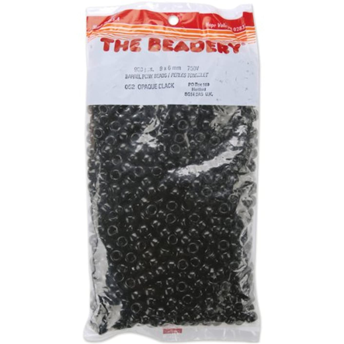 The Beadery 6 by 9mm Barrel Pony Bead in Black, 900-Piece