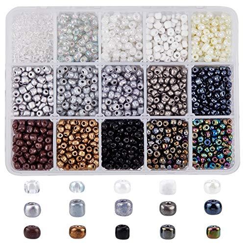 NBEADS - Aproximadamente 3000 cuentas redondas de cristal de 4 mm, miniespaciador, cuentas sueltas para diseño de joyas, collares, pulseras y pendientes
