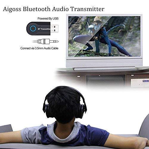 Aigoss Transmisor Bluetooth USB Adaptador de Audio Inalámbrico 3.5mm para TV/Ordenador/ Auriculares/Altavoz, Baja Latencia,Conexión Dual de Salida Estéreo