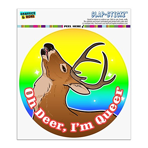 Graphics and More Oh Deer I'm Queer Rainbow Pride Gay Lesbian Funny Automotive Car Window Locker Circle Bumper Sticker