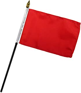 Quality Standard Flags One Dozen Red Stick Flag, 4 by 6