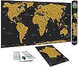 WIDETA Carte du Monde à gratter, Français/Poster Grand Format (82 x 43 cm) / Inclus Carte de...