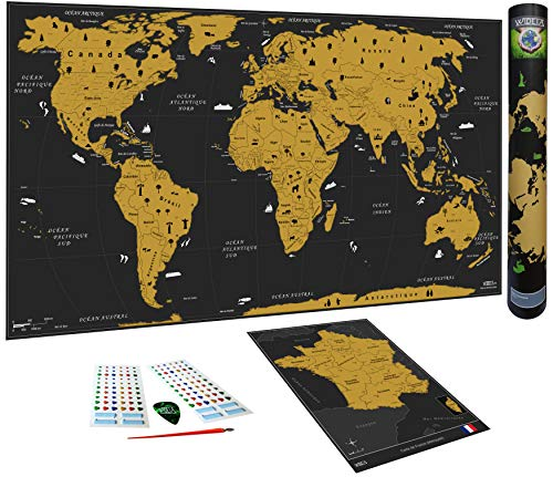 WIDETA Carte du Monde à gratter, Français/Poster Grand Format (82 x 43 cm) / Inclus Carte de France, Autocollants et Accessoires de grattage