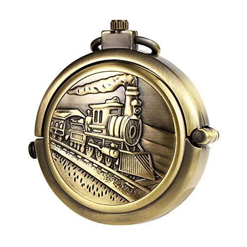 TREEWETO Unisex Taschenuhr mit Kette Analog Handaufzug Mechanisch Pull-Sonderform Zug Lokomotive Groß Hohl Fall Bronze