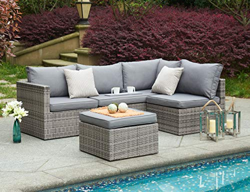 BRAVICH Weatherproof Rattan 4pcs Sofa Set Outdoor Corner Chair Patio Garden Furniture Set 6 Seater With Rain Cover Fully Assembled