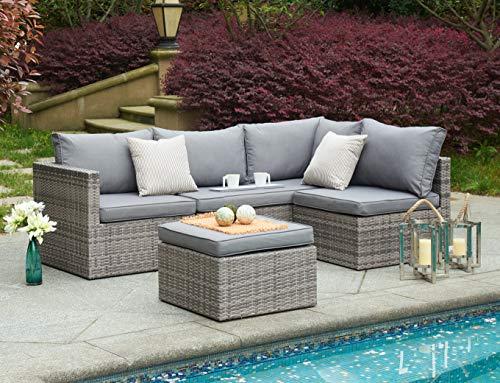 BRAVICH Wetterfestes Rattan-Sofa-Set, 4-teilig, Eckstuhl, Terrasse, Gartenmöbel-Set, 6-Sitzer, mit Regenschutz, komplett montiert