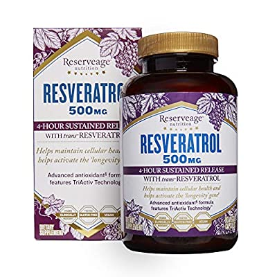 Reserveage, Resveratrol 500 mg, Antioxidant Supplement for Heart and Cellular Health, Supports Healthy Aging, Paleo, Keto, 90 Capsules (90 Servings)