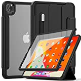 Weuiean iPad Pro 12.9 Inch Clear Case 2020, Transparent Rugged Back Case with Soft Edge, Smart Wake/ Sleep Trifold Stand Clasp Cover with Pencil Holder [Support iPad Pencil Charging] - Black