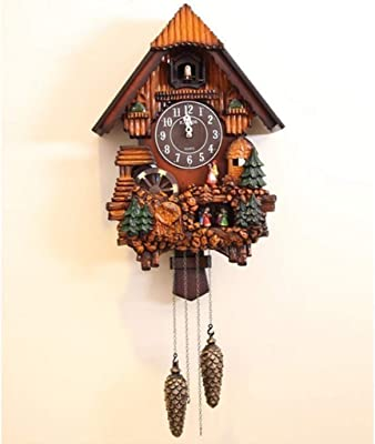 Wall Clock Cuckoo Clock Pendulum Quartz Non-Ticking Forest House Home Decor