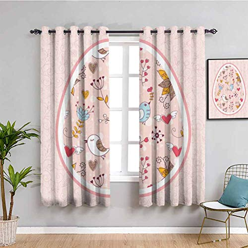 Easter Decorations Heat Insulation Curtain Pink Fuchsia Mustard Blue Brown Waterproof Fabric W55 x L39 Inch