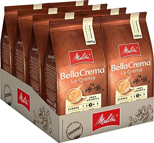 Melitta Ganze Kaffeebohnen, 100{770ff2440cc399ba3f09b064a04bef25d083953cb946068f9bc93fe024526354} Arabica, vollmundig und ausgewogen, Stärke 3, BellaCrema LaCrema, 8er Pack (8 x 1 kg)