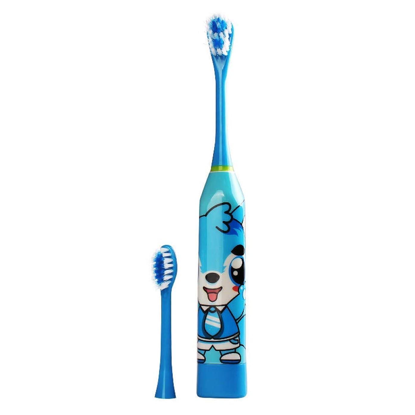 子供漫画パターン電動歯ブラシキッズホームかわいい柔らかい髪の歯ブラシ両面クリーン交換ヘッド、B