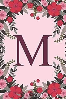 M: Name Monogram Initial M Pink Floral 6x9