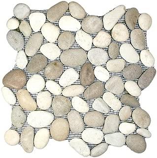 Java Tan and White Pebble Tile 1 sq.ft. (Mesh Mounted)