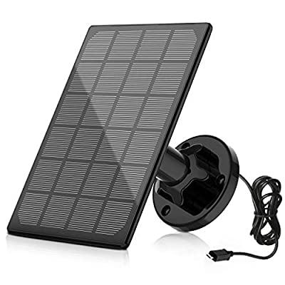 A-ZONE Solar Panel Compatible with Outdoor Solar Powered Wireless Camera Powering Your Solar Battery Camera Continuously, Black