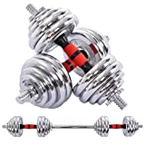 SALE & CLEARANCE Rubber Dumbbell in Pair, 66LBS Adjustable Weight Dumbbells Set with Metal Handles Weights Set, Home Gy-m Muti-Function Weight Bench Training Full Body Workout Barbell Set (Silver)