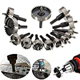 DRILLPRO 13Pcs Hole Saw Kit, HSS Drill Bit Hole Saw Bit Set for Metal, Stainless, 5/8'- 2 1/9'