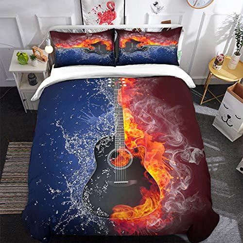 3D Flame Electric Guitar Bedding Set with 2 Pillowcases Music Guitar Duvet Cover Set with Zipper Closure Flame and Ice Soft Microfiber Bedding Set 200 x 200cm