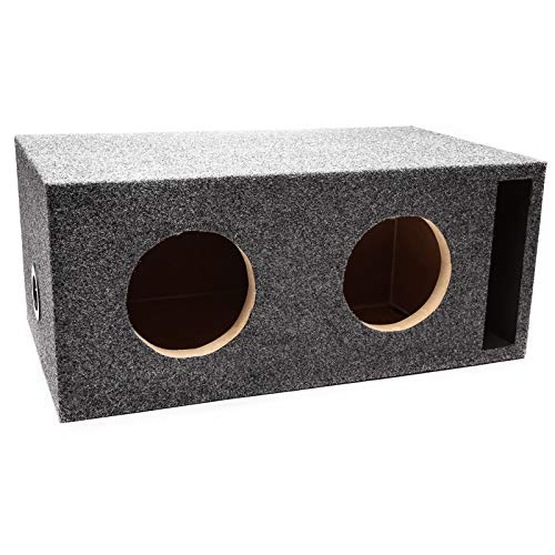 "Skar Audio Dual 6.5"" Universal Fit Vented Subwoofer Enclosure with 1"" MDF Heavy Duty Front Baffle - Charcoal Carpet"