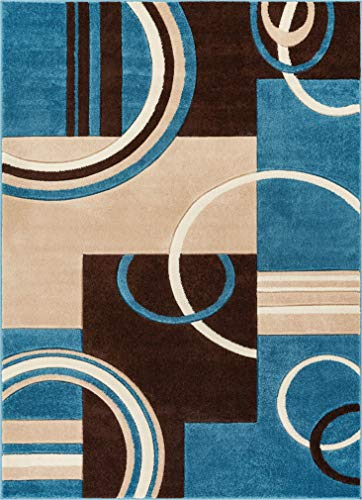 """Echo Shapes & Circles Blue & Brown Modern Geometric Comfy Casual Hand Carved Area Rug 5x7 ( 5'3"""" x 7'3"""" ) Easy Clean Stain Fade Resistant Abstract Contemporary Thick Soft Plush Living Room Rug"""