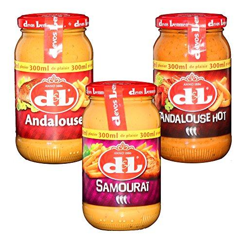 Devos Lemmens Saucen Set D&L Samourai Andalouse Hot 3x 300ml Scharfe Würz Saucen