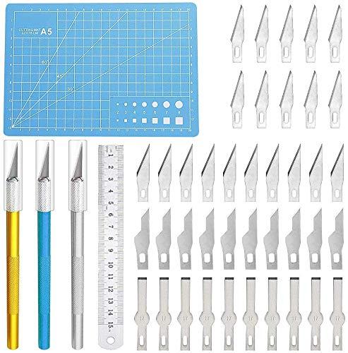 Lhedon Precision Craft Hobby Messer Set Enthält 40 Ersatzklingen Skalpell mit 3 Griffen,1 Schneidebrett,1 Stahllineal,Bastelmesser Schnitzmesser für DIY Art Work Caving