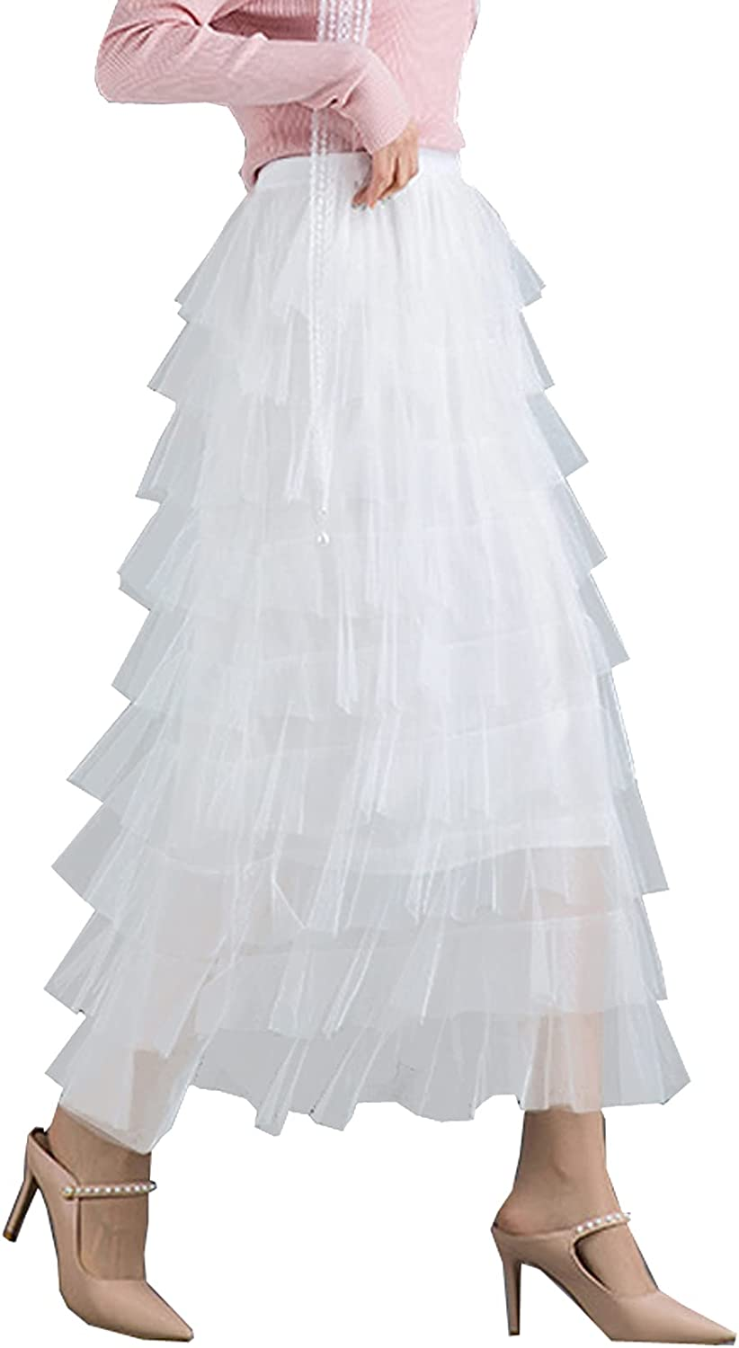BDQING Women's Elastic Waist Tiered Layered Mesh Ballet Prom Party Tulle Tutu A-line Long Skirt