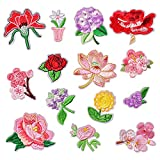 14 Pieces Iron on Flowers Appliques, Embroidered Retro Flower Rose Sunflower Cherry Violet Patches Vintage for DIY Jackets Jeans Dress Pants Shirts Shoes Hats Clothes