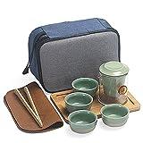 MVASE Set da tè Portatile Set da Viaggio Set da caffè Tazza di caffè Set di tè Giapponese Teiera E Borsa da Viaggio Adatta per Viaggi, Casa, All'aperto E Ufficio, Verde